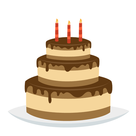 Delicious three-tiered chocolate birthday cake with happy birthday candles isolated on white background. Vector illustration