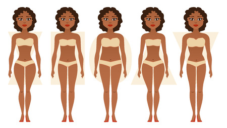 African American girl, body figures. Woman shapes, five types hourglass, triangle, inverted triangle, rectangle, pear rounded Vector illustration Banque d'images