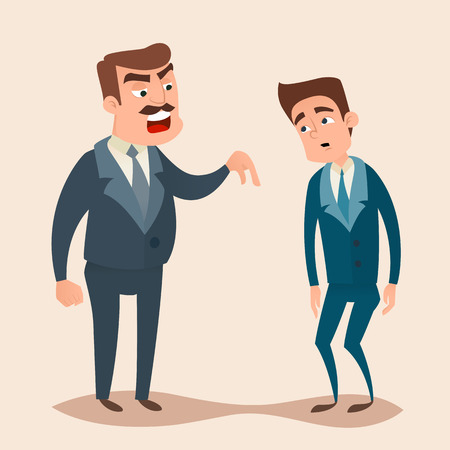 dismissal: Angry boss man character screams and shouting to worker, employee concept design. Vector flat cartoon illustration.