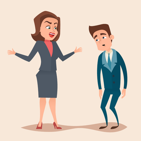 dismissal: Angry boss woman character screams and shouting to worker, employee concept design. Vector flat cartoon illustration.