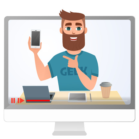 Blogger review and test new smartphone. Live broadcast on channel. Man holding mobile phone with smile on his face. Vector illustration. Banque d'images