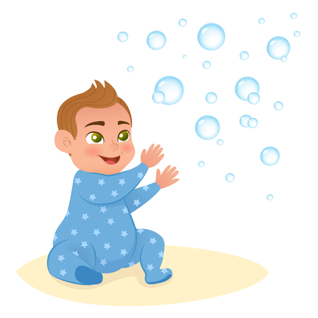 Vector illustration. Little lovely baby boy, playing with ball and cubes