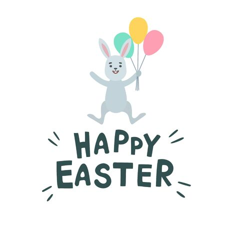 Cute easter bunny, easter rabbit. Greeting card with Happy Easter writing, letterin. Isolated on white background. Vector illustration