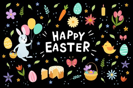 Colorful happy Easter greeting card with letterin flowers eggs and rabbit elements composition. Isolated on black background. Vector hand draw illustration Illustration