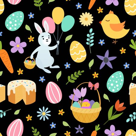 Hand draw colorful floral seamless pattern with eggs chiken rabbit flowers. Cute easter bunny. on black background. Vector illustration Illustration