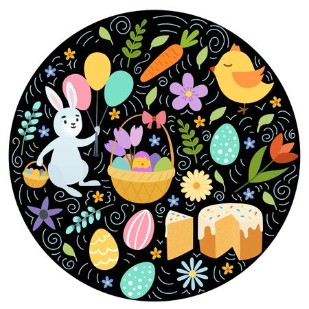 Hand draw colorful floral circle pattern with eggs chiken rabbit flowers. Cute easter bunny. on black background. Vector illustration