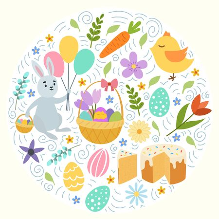 Hand draw colorful floral circle pattern with eggs chiken rabbit flowers. Cute easter bunny. on white background. Vector illustration Illustration