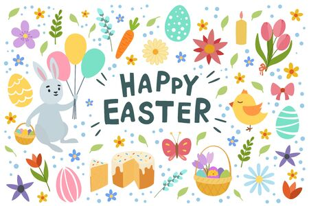 Colorful happy Easter greeting card with letterin flowers eggs and rabbit elements composition. Isolated on white background. Vector hand draw illustration