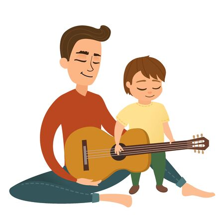 Young father teaches his little son to play the acoustic guitar. Dad playing the guitar with his little children. Cartoon vector family singing illustration. Illustration