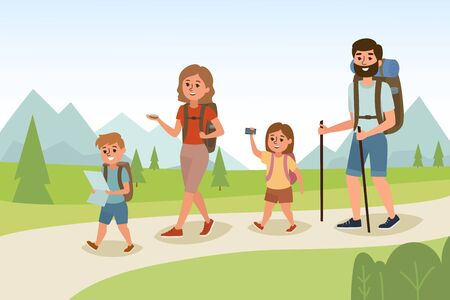 Happy Family hiking outdoors with backpack. Father, mother and children sun and dother are traveling and trekking through the landscape. Family travel time. Go to Camping. Vector illustration