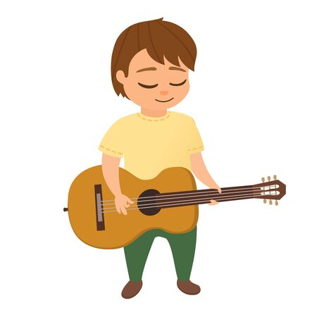 Little boy play the acoustic guitar or ukulele. Children playing and sings the guitar or ukulele, hawaiian guitar. Isolated on white. Cartoon vector illustration. Illustration