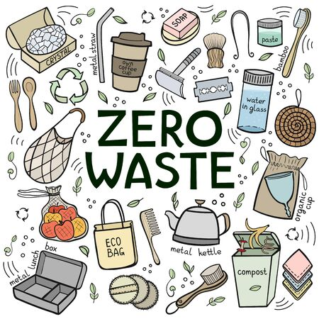 colorful Set of elements of zero waste life. Eco style. No plastic. Go green. Vector illustration Illustration