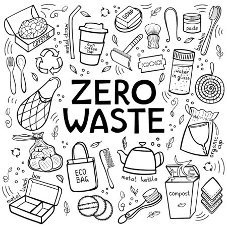 Black and white Set of elements of zero waste life. Hand Draw Lettering. Eco style. No plastic. Go green. Vector illustration Illustration