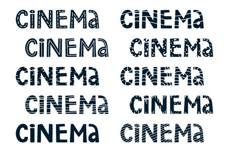 Set of cartoon doodles hand drawn cinema lettering design for your movie advertising. title vector