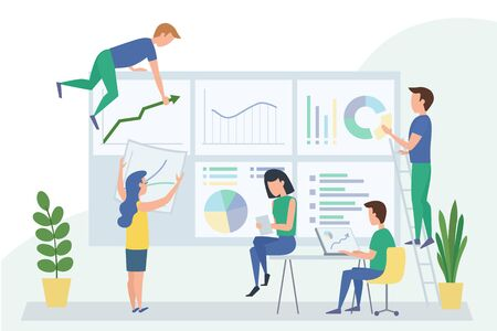 People work in a team with dashboard and interact with graphs. Data analysis design concept, workflow management, office situations. Vector illustration Illustration