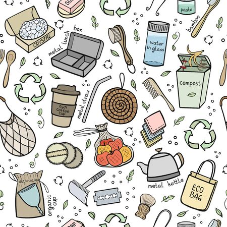 Seapless pattern hand drawn elements of zero waste life. Eco style. No plastic. Go green. Vector illustration Illustration