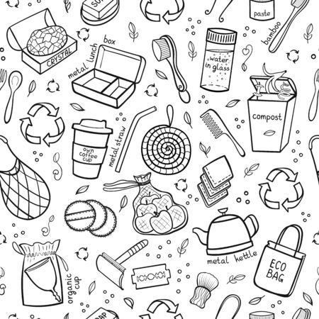 Seapless black and white pattern hand drawn elements of zero waste life. Eco style. No plastic. Go green. Vector illustration
