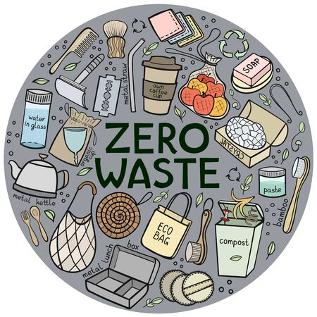 Set of elements of zero waste life. Eco style. No plastic. Go green. Vector illustration