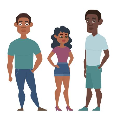 Young African American group of people, woman and two men in casual clothes. Vector illustration