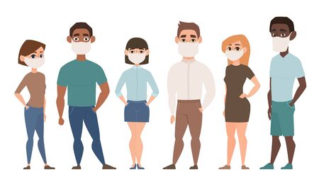 Coronavirus, Covid-19, 2019-ncov Pandemic. People in white medical face mask. Illustration