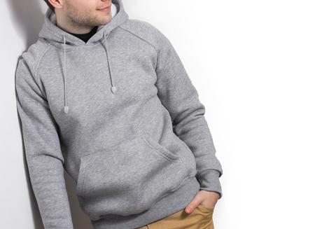 casual hooded top: man, guy in Blank grey hoodie, mock up isolated. Plain hoody design presentation.