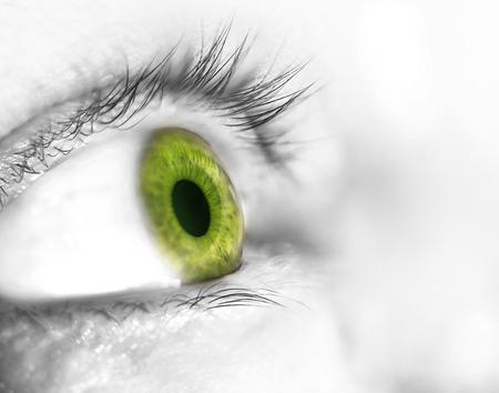 beautiful human eye, macro, close up  blue, yellow, green