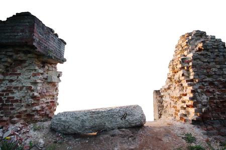 old items: Broken brickwork isolated