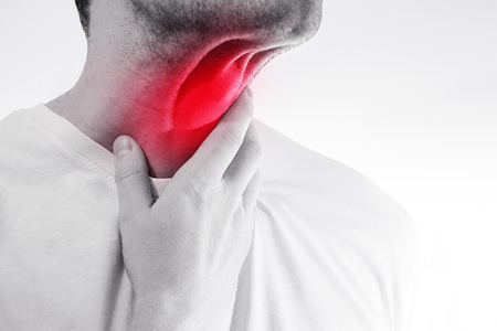 heartburn: The man touches his sore  throat, neck, Temperature, runny nose, illness, Pain,