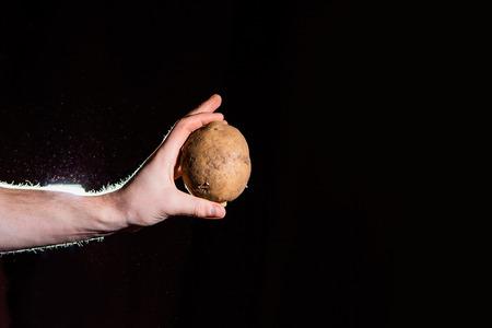 harvested: farmer hand hold potato on a black Stock Photo