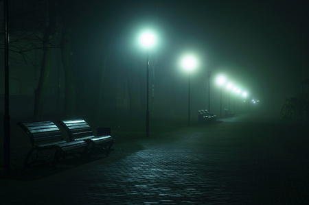 miserable: An empty benchs in city boulevard, avenue. Alley at the foggy street at night
