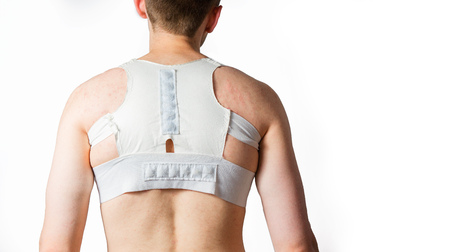 hernia: A man in a orthopedic corset supporting the spine, a hernia, a curve of the back, backbone Stock Photo