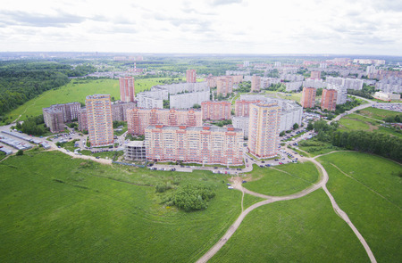 Aerial view of a small town, apartment buildings, block of flats