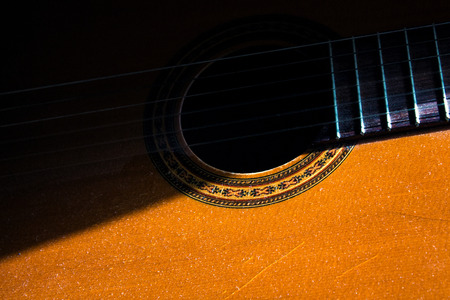 acoustic guitar in the room, home hobby Stock Photo