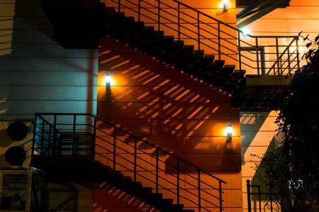 Fire Ladder, fire escape at night