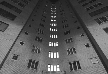 dormitory area, black and white photo architecture, the usual panel house, the block of flats