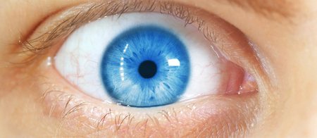 beautiful human eye, macro, close up  blue, yellow, brown,  Stok Fotoğraf