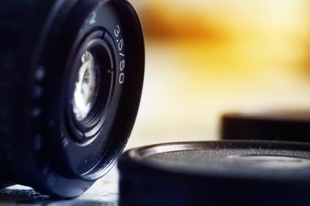 Vintage camera lens close-up, old camera lens 写真素材