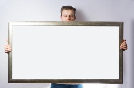 man hold  Wood frame, mock up