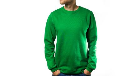 man stand in the Blank green hoodie, sweatshirt, on a white background, mock up, free space