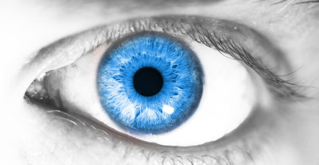 beautiful human eye, macro, close up  blue, yellow, brown, 写真素材