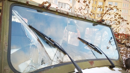 Damage on car, broken glass Windshield