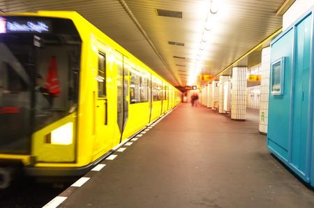 Yellow Train In Berlin Metro Subway underground