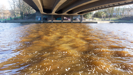 dirty brown water, water pollution in the city
