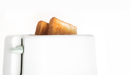 white toaster with toasted bread on white background, delicious breakfast