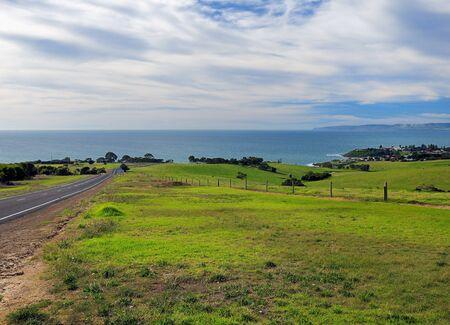 Road Passing Grassland To Penneshaw Kangaroo Island SA Australia