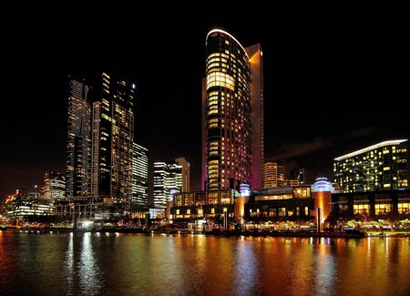 View At Night From King Street Bridge To Southbank At Yarra River In Melbourne Victoria Australia