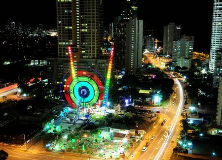 Long Time Exposure Of A Colorful Spinnig Wheel In Surfers Paradise Gold Coast Queensland Australia