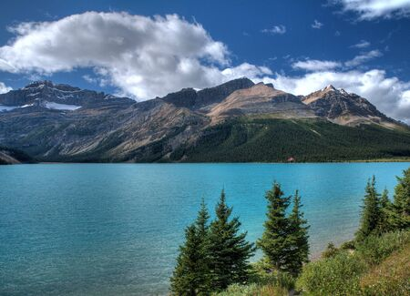 Wonderful Turquoise Surface Of The Bow Lake At The Icefield Parkway Banff National Park