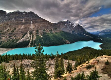 Bird's Eye View To The Breathtaking Peyto Lake At The Icefield Parkway Banff National Park