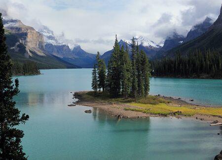 Picturesque Spirit Island In Lake Maligne Jasper National Park